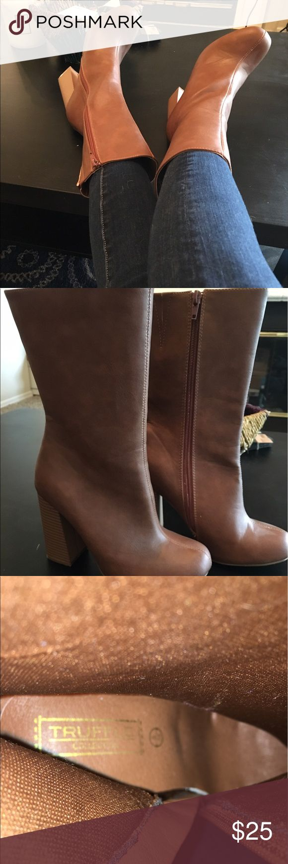 ASOS 70s Style Mahogany Boots Gorgeous mahogany brown mid-calf block heel boots from the ASOS Truffle Collection. Worn only once, and in excellent condition, these boots are an absolute steal. A throwback look that will make you feel like a seventies supermodel, a tall heel will make you feel leggy and thin. A boho, hippie, seventies look can become polished with the addition of these gorgeous heels. There's absolutely no wear on the inside, so they're like new. Off season pricing!! ASOS…