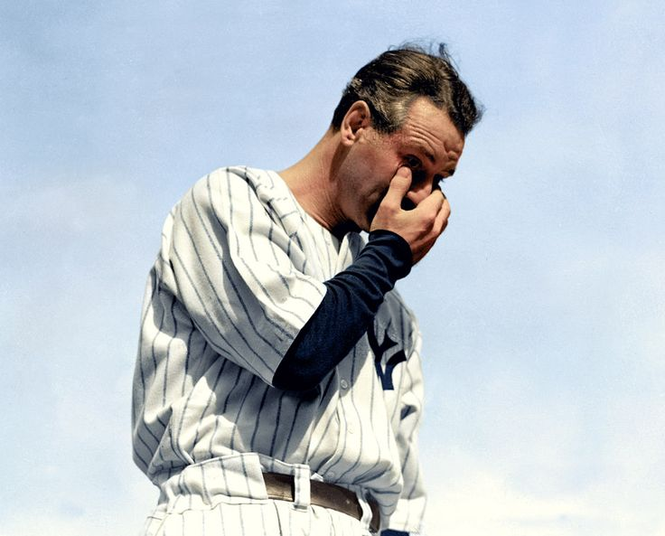 Lou Gehrig, July 4, 1939. Photo taken right after his famous retirement speech. He would pass away just two years later from ALS. (colorized photo)