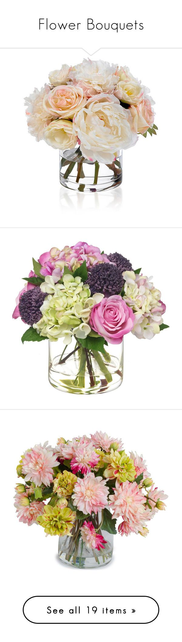 """""""Flower Bouquets"""" by anetacerna ❤ liked on Polyvore featuring home, home decor, floral decor, flowers, filler, plants, decor, silk arrangements, silk flowers and silk floral"""