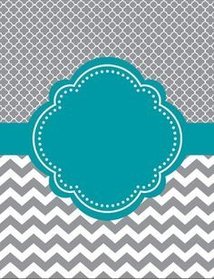 """Moroccan and Chevron Binder Cover ~ Two Versions ~Teal and Gray or Light Teal and GrayI love cute binder covers.  You can add a label to it or write on it.    If you decide to download this free product, please take a moment to leave feedback.  It's much appreciated.  """"Follow Me"""" for updates and new products."""