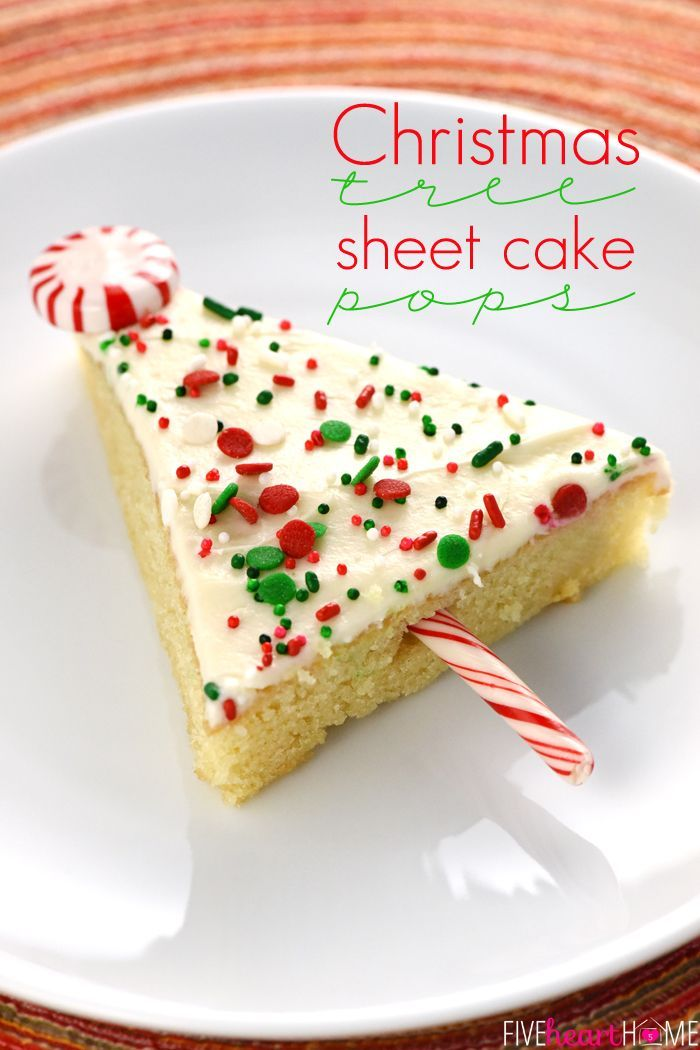Christmas Tree Sheet Cake Pops ~ tender vanilla sheet cake is slathered in cream cheese frosting, showered with sprinkles, cut into triangles, and embellished with candy canes to make cute & festive treats...perfect for any holiday party or Christmas cookie platter!   FiveHeartHome.com