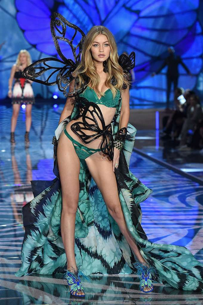 It's Special Because: The teal color of Gigi's first-ever Victoria's Secret look, during the butterf... - Getty