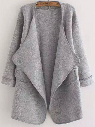 Grey Long Sleeve Stitch Pocket Loose Cardigan -SheIn(Sheinside) Mobile Site