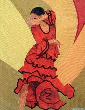 Flamenco Wind - mixed media glass mosaic flamenco romantic woman dance art by Liza Wheeler