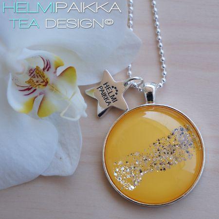 Keltainen glitter kaulakoru
