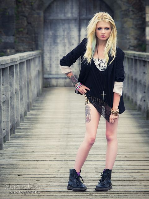 Edgy - Alternative Fashion | The tattoo completes the look.