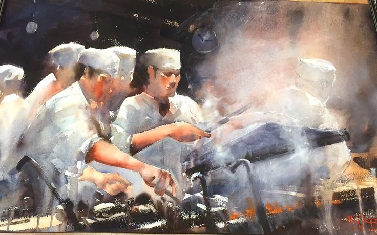 Alvaro Castagnet, Restarant kitchen  Álvaro Castagnet  #alvarocastagnet #acuarela #watercolor #galeriadeartetrinotortosa #ventadearte www.trinotortosa.com