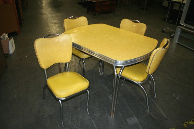 Mid Century Yellow Formica Top Chrome Kitchen Table