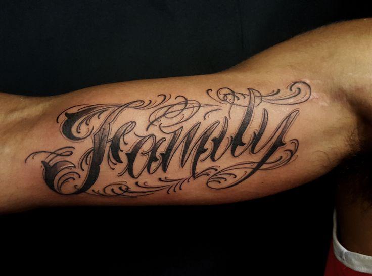 Custom Lettering Tattoo On Inner Bicep