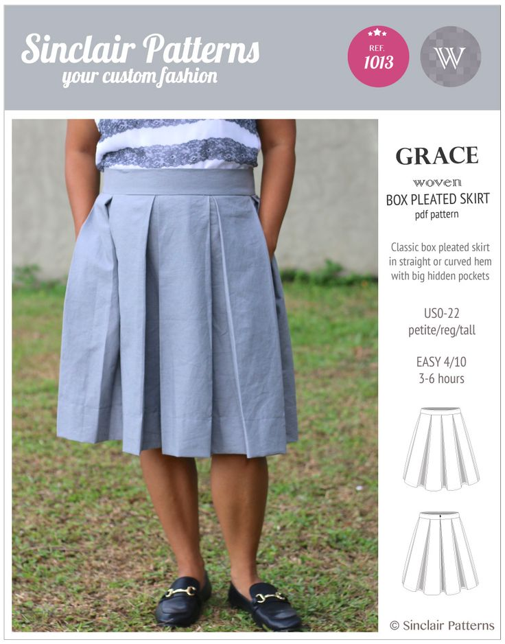 PDF Sewing Patterns Sinclair Patterns Grace box pleated lined woven skirt with pockets (PDF)