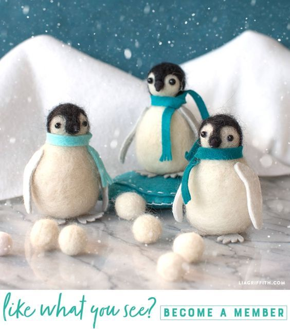 Craft Along With Our Video Tutorial for Felted Penguin Fun - Lia Griffith - www.liagriffith.com #felt #feltcute #feltcraft #needlefelting #diyfelt #diyinspiration #madewithlia