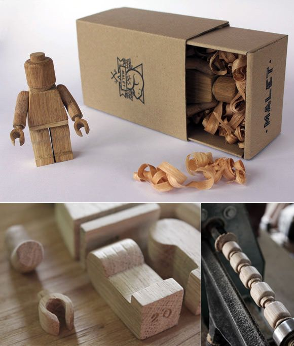 If you love all things LEGO, you'll totally flip over these wooden minifigs by French designer Malet Thibaut. Avail­able in a lim­ited edi­tion of 20, each fig­ure was care­fully made by hand and shipped in nat­ural wood and card­board packaging.