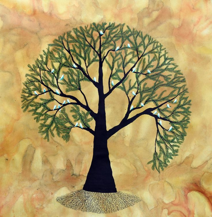 Puran Vriksh Ink Painting by Sumit Mehndiratta. A beautiful lush green tree painted on canvas which is purposely made to look like an old, vintage paper. The tree is blossoming fresh leaves accompanied by a flock of white birds with blue chest feathers.