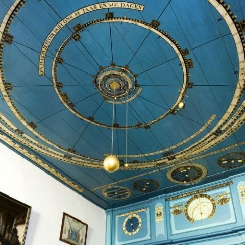 Koninklijk Eise Eisinga Planetarium. Between 1774 and 1781 Eise Eisinga built a solar system model into his living room ceiling in Friesland, Holland.