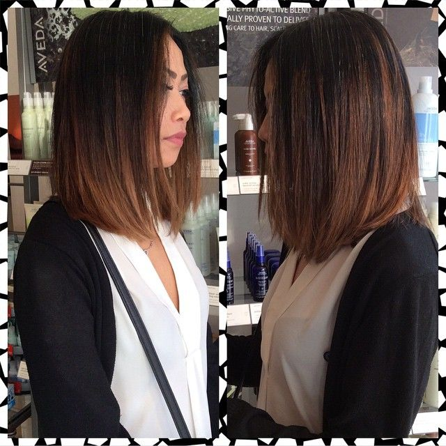 A Lob cut with caramel Balayage highlights on a natural dark base for a 2015…