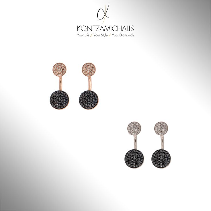 Black and white diamonds all together in perfect harmony on these luxurious pairs of earrings. #KontzamichalisJewellery