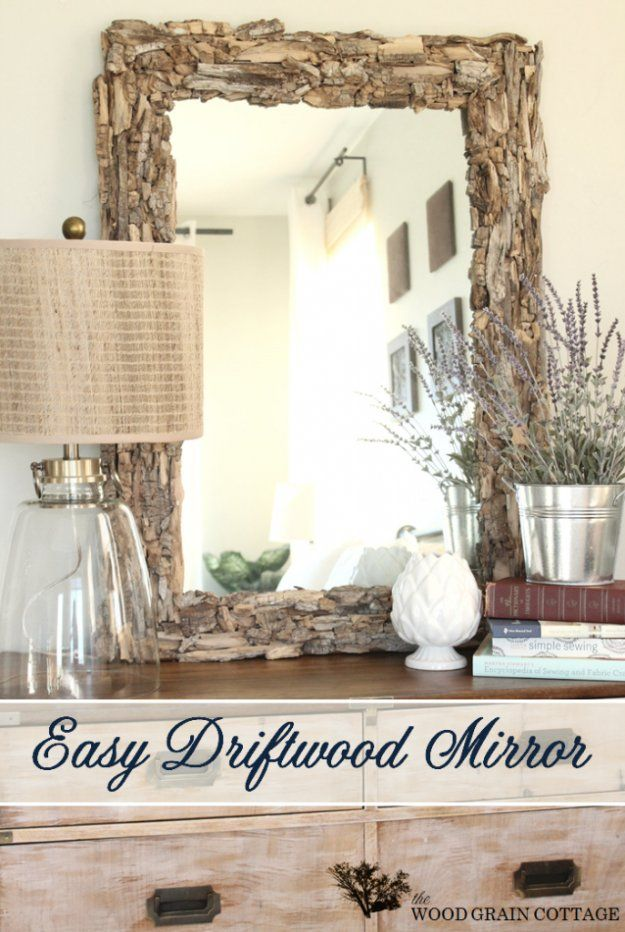 DIY Renters Decor Ideas – Easy Driftwood Mirror – Cool DIY Projects for Those Renting Aparments, Condos or Dorm Rooms – Easy Temporary Wall Art, Conta…