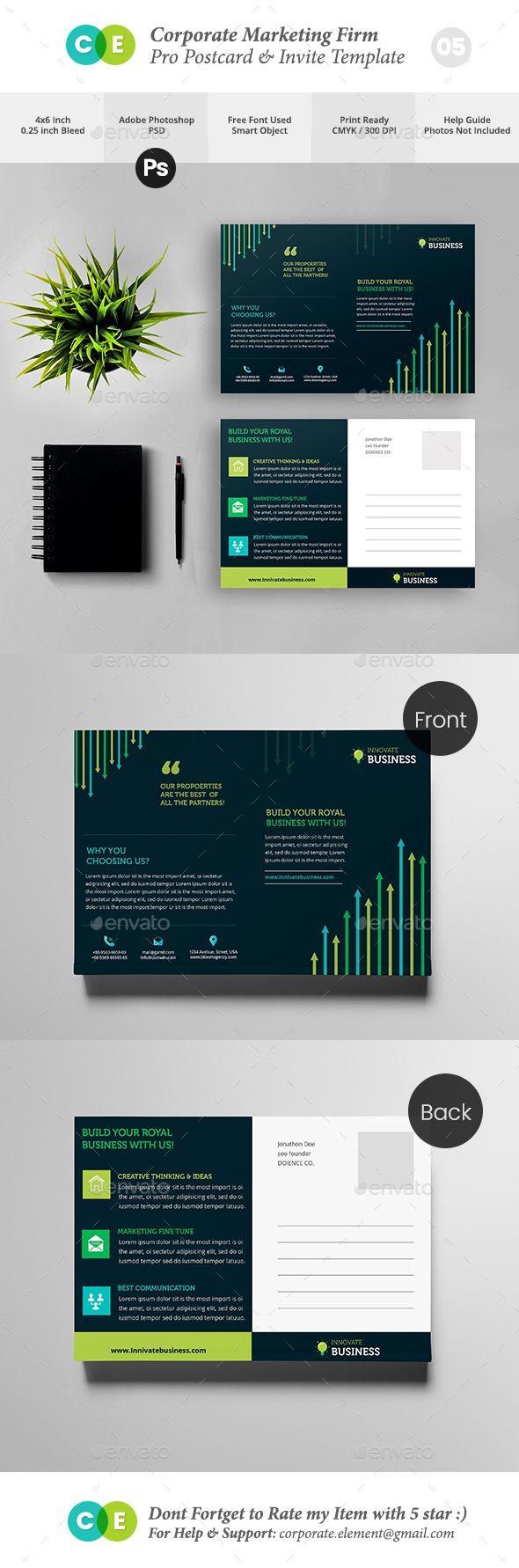 #Corporate Marketing Firm Pro Postcard Invite  V05 - #Cards & #Invites Print Templates Download here:  https://graphicriver.net/item/corporate-marketing-firm-pro-postcard-invite-v05/20321614?ref=alena994