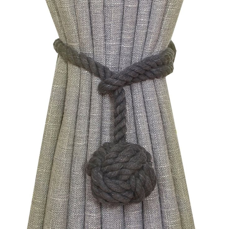 Shinywear 2 Pieces Retro Handmade Curtain Ropes Holdbacks Rural Knot Ball Cotton Cord Drapery Tiebacks Tie Band,Fashion Color Mixed (Solid dark grey) *** Want additional info? Click on the image. (This is an affiliate link and I receive a commission for the sales)