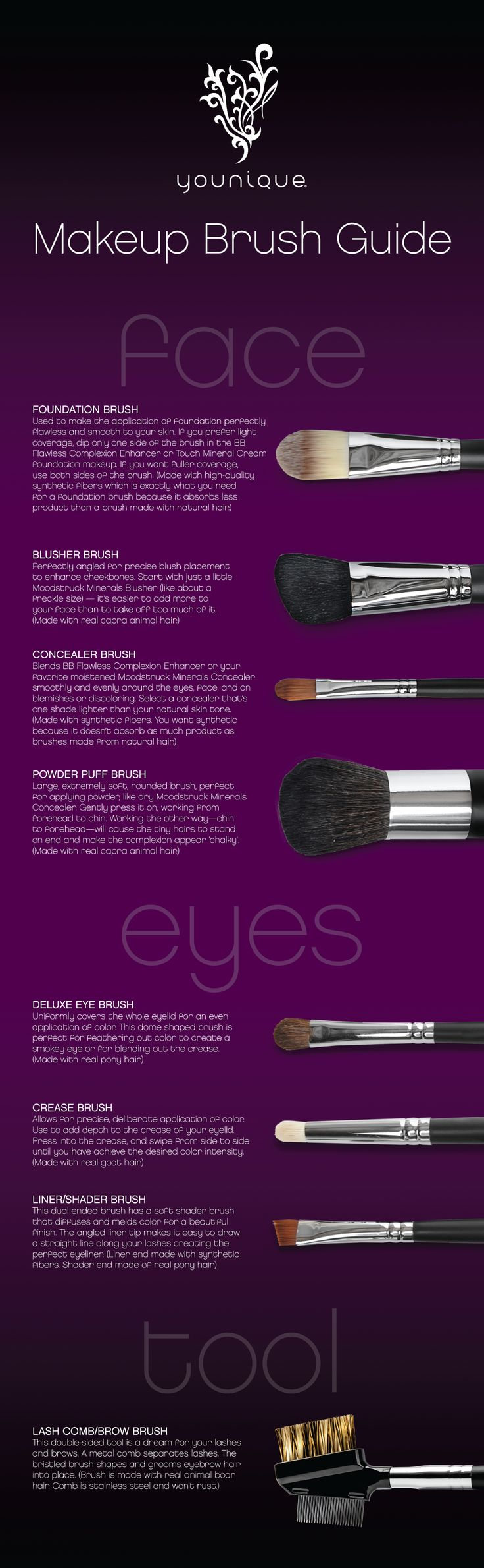 Ever wonder what each makeup brush is for? This infographic tells you the purpose of each brush and some great makeup application tips.https://www.youniqueproducts.com/themakeupman/