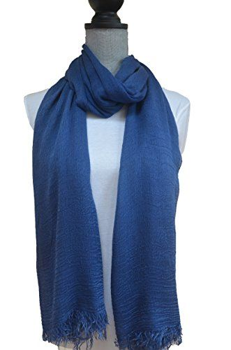 """NovemberSkies Women's Extra Large Soft and Slinky 100% Modal Fabric Scarf (Denim Blue). Material: 100% modal. Size: 80' * 52"""" (extra large). Can be washed by hand in cold water with a mild detergent. Please click NovemberSkies on the top and see more beautiful scarves. What is Modal Fabric: Modal is a modern, man-made fabric. It's a variation of rayon, and made from cellulose fiber by spinning cellulose, which is wood fiber from beech trees. Using cellulose from beech trees allows the fabric…"""