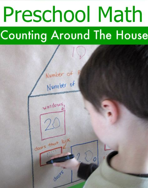 "Preschool math - counting around the house. We used to do this as kids and always had a blast! Count the number of doors, windows, doorknobs, faucets, etc. This can also segue into making a ""map"" (floorplan) of the house with all the items pinpointed."