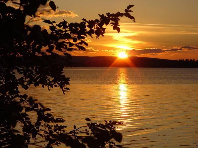 Midnight sun at the Arctic Circle
