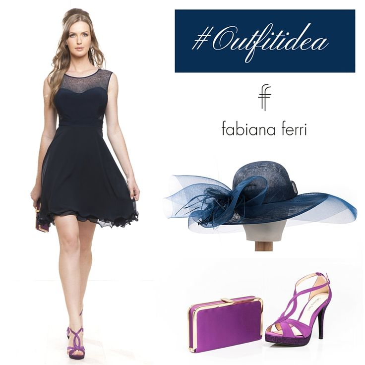 #Outfitidea... #Minidress blu con gonna ampia ideale da indossare in occasione del #weekend Perfetto se si completa il #look con cappello in tinta e sandali e #pochette a contrasto :-) #chic #moda #fashion #outfit #dress #elegance