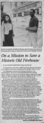 An article about Rudy Brown and Anita Landecker on a mission to save the historic firestation of Engine Company No. 30 :: Dunbar Economic Development Corporation Collection, 1880-1986
