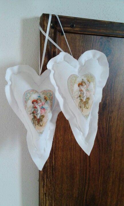 Šitá srdíčka / sewing white hearts # provensal # vintage