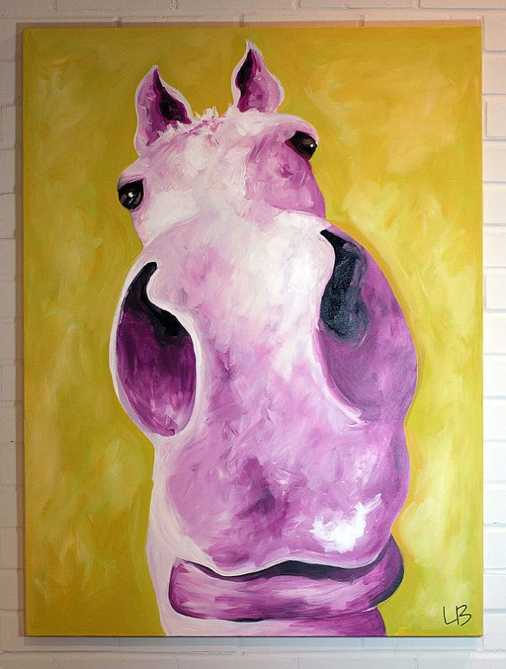 Horse Painting 30x40 Original Canvas Art Acrylic Portrait Yellow and Purple Layla the Horse
