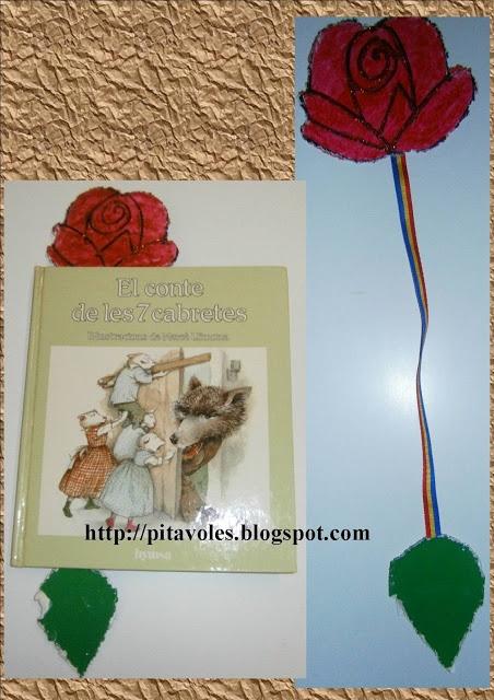 Punt de llibre de rosa amb cinta.
