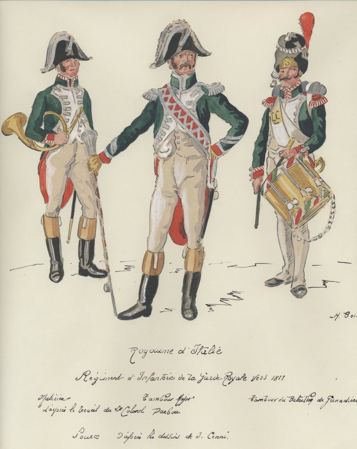 Italian Infantry of the Royal Guard 1805-11. L to R Musician, Drum Major & Drummer of the Grenadier Batalion.