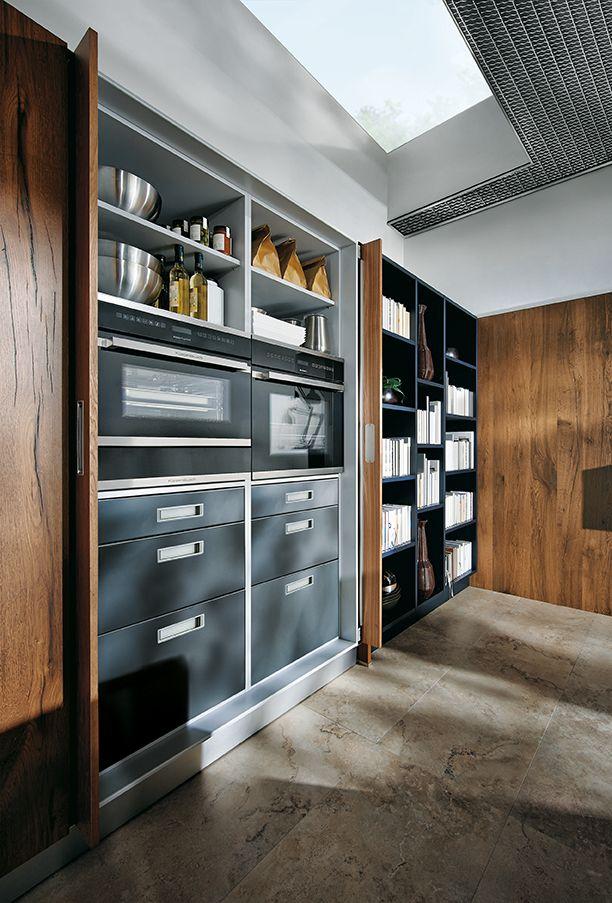 Modern design - keukenkast met inbouwapparatuur in keuken NX902 in indigoblauw next125