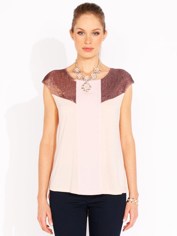 Sequin Shoulder Top | Portmans