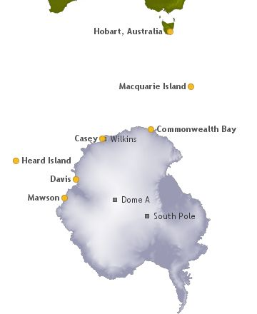 Map of Antarctica showing research stations and key locations