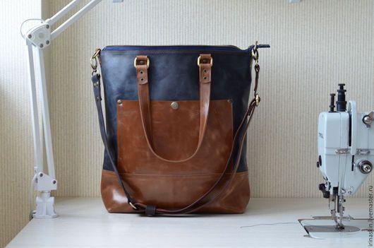Кожаная сумка на плечо, вертикальная кожаная сумка, кожаная сумка рыжая, кожаная сумка темно-синяя, Ирина Болдина, кожаная сумка большая, кожаная сумка шоппер, кожаная сумка формата А4
