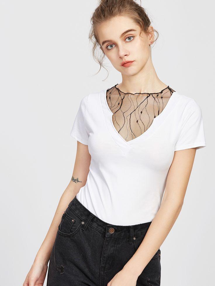 Shop V Neckline Lace Insert T-shirt online. SheIn offers V Neckline Lace Insert T-shirt & more to fit your fashionable needs.