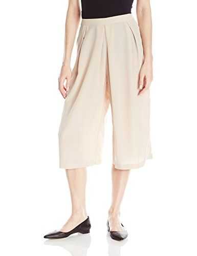 Calvin Klein Women's Pleat Front Coulottes Pants Pants, Latte, 10 Alternate lengthHigh-waist culotte pant with pleated front and defined waistbandSide zip closure