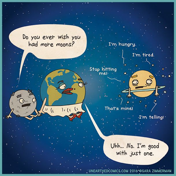 science comics and parenting humor about earth only wanting one moon
