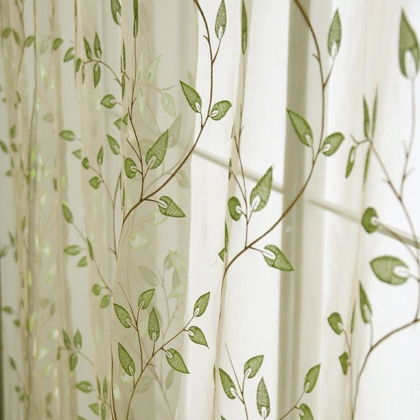 Green Leaves Quality Embroidered Leaves Window Curtain