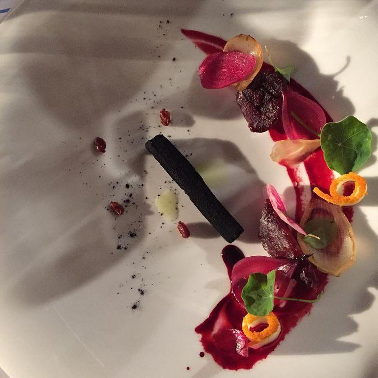 """#TDME """"Dirty Terry: Nada é o que parece. Um prato que se foi construindo na mesa e que até foi necessário o uso de trabalhos manuais. Aqui estão três texturas de beterraba (puré, assada e em pickle), kumquat, aipo e rábano picante.""""  Photo: João Roseiro (@jsmroseiro) #silverspoonlisbon #June2016"""