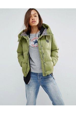 Damen Jacken - Converse Mittellange, wattierte Jacke in Khaki