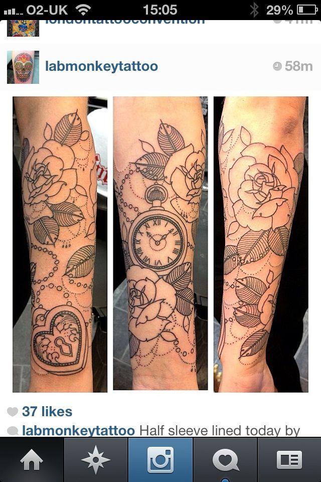 Gorgeous pocket watch tattoo