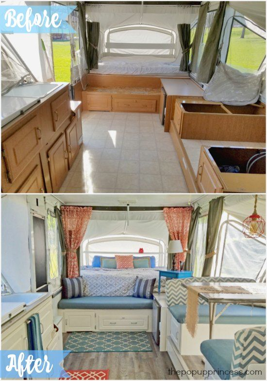 Gorgeous tent trailer remodel.  What a difference paint and fabric can make!