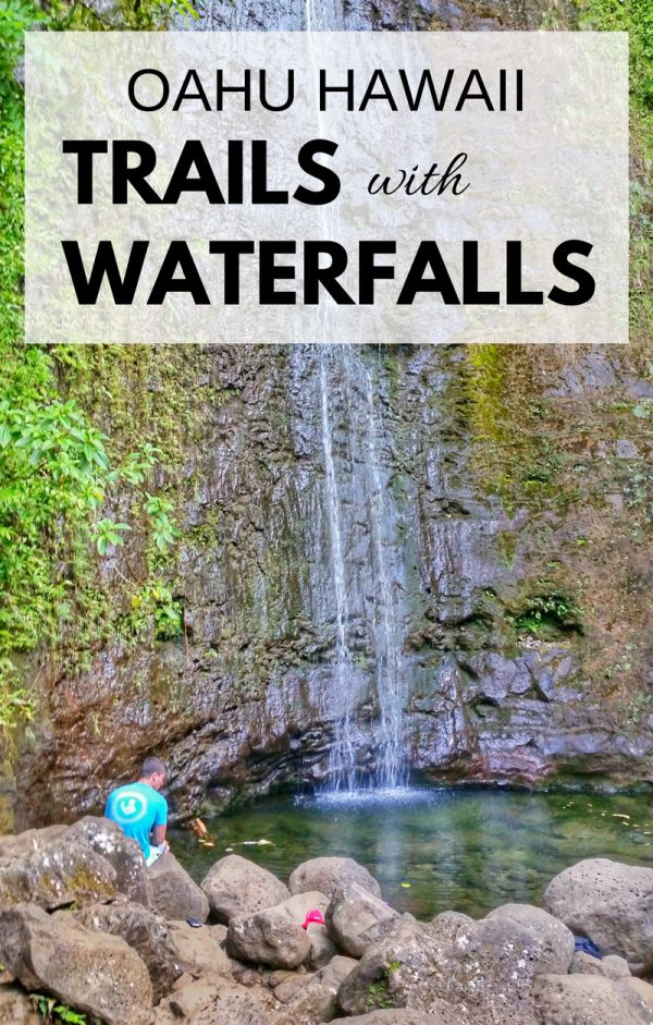 Waterfalls in Oahu with some popular hikes in Hawaii. For US hiking trails in Hawaii, there are tons of hikes on Oahu to choose during Hawaii vacation on the island and there are a few Oahu waterfall hikes too. Manoa Falls is near Honolulu and Waikiki, and Waimea Falls is on the North Shore. People go swimming at both. Outdoor travel destinations and activities for the bucket list for budget adventures! Put hiking gear on Hawaii packing list! #hawaii #oahu