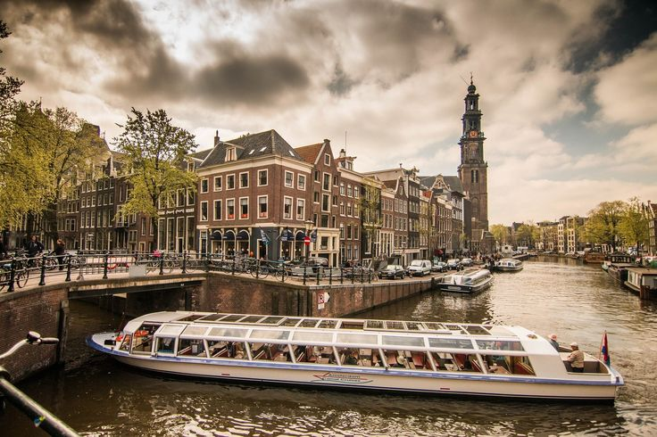 ciudad, barco, canales, río, nublado, amsterdam, 1707081503
