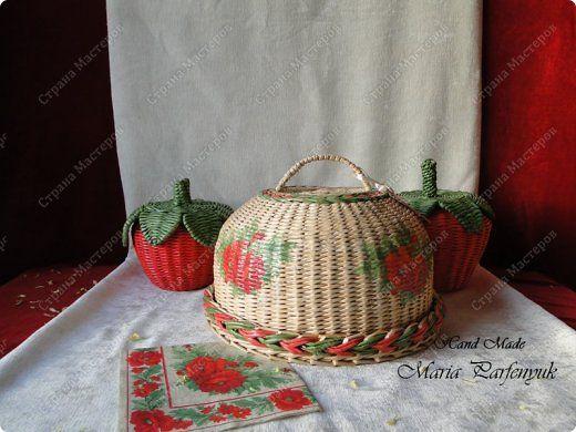 Поделка изделие Плетение Набор для кухни Красные маки Бумага газетная Трубочки бумажные фото 1