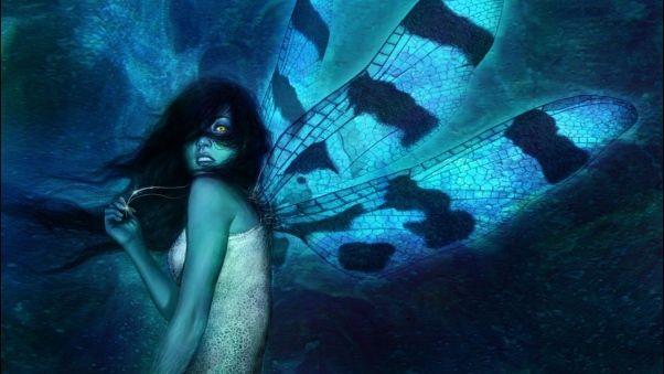 Wallpaper girl, wings, dress, fear