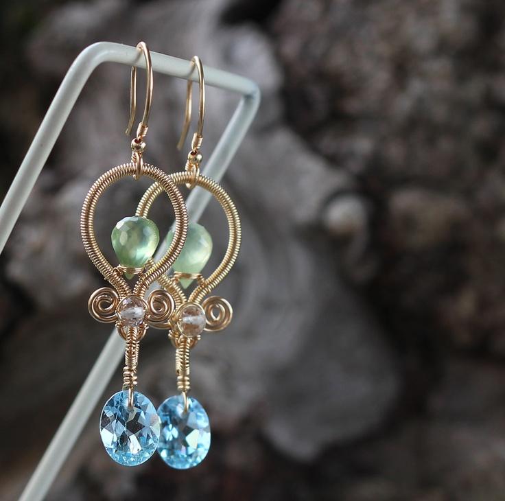 Swiss Blue Topaz, Prehnite, Rose Quartz, Gold filled earrings. $109.00, via Etsy.